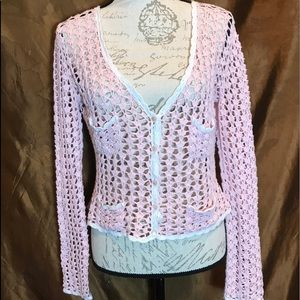 Betsy Johnson pink button-down crocheted sweater